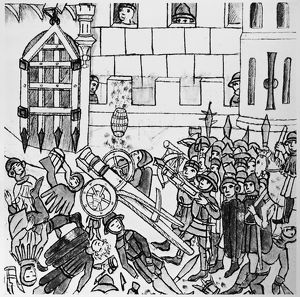 WARFARE, c1450. A wheel-mounted cannon used in battle against a stronghold