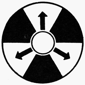 Warning sign for nuclear radiation.