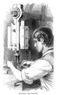 WATCHMAKER, 1869. An American watchmaker punching the wheels. Wood engraving, American
