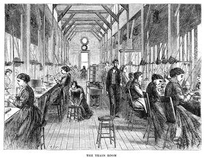 WATCHMAKER, 1869. American watchmakers in the 'train room,' at the Elgin National