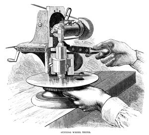 WATCHMAKER, 1869. Machine used to cut watch wheel teeth, at the Elgin National