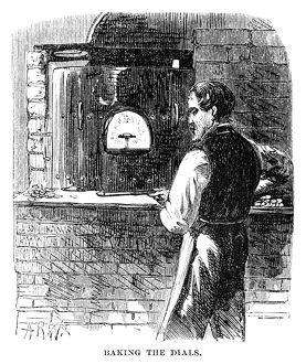 WATCHMAKER, 1869. A watchmaker baking the dials at the Elgin National Watch Company