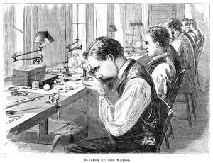 WATCHMAKERS, 1869. Workers assembling the parts of pocket watches, at the Elgin