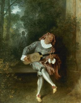 WATTEAU: GUITAR PLAYER. Oil on canvas by Jean-Antoine Watteau (1684-1721).