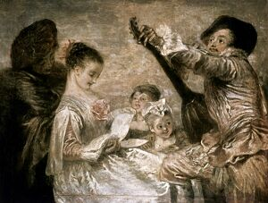 WATTEAU: MUSIC. 'The Music Lesson.' Oil on canvas by Jean-Antoine Watteau, c1717.