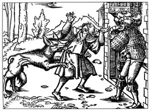 WEREWOLF, 15th CENTURY. Werewolf attacking a man. Woodcut, German, 15th century