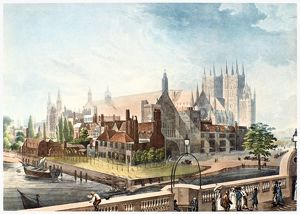 WESTMINSTER ABBEY, 1819. View of Westminster Abbey and adjacent buildings as they