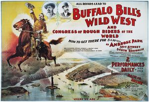 W.F. CODY POSTER, 1894. Poster for 'Buffalo Bill' Cody's Wild West Show at Brooklyn