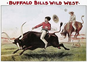 W.F. CODY POSTER, c1885. Steer Riding: Buffalo Bill Wild West Show lithograph poster