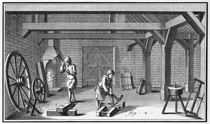 WHEELWRIGHT, 18th CENTURY. Interior of a wheelwright's shop. Line engraving, French
