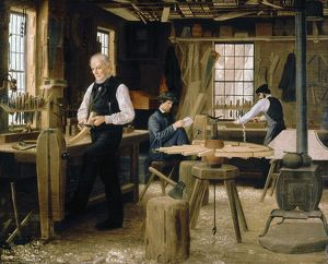 occupations/wheelwrights shop c1860 oil canvas edwin tryon