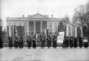 WHITE HOUSE: SUFFRAGETTES. Women suffragettes picketing in front of the White House, Washington, D