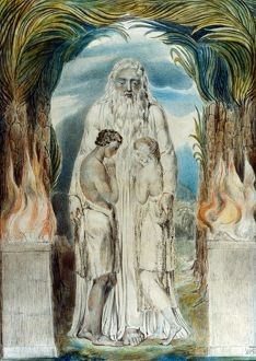 WILLIAM BLAKE: ADAM & EVE. Angel of the Divine Presence clothing Adam and Eve with coats of skin
