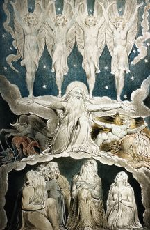 WILLIAM BLAKE: JOB. When the Morning Stars Sang Together (Book of Job). Watercolor