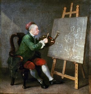 WILLIAM HOGARTH (1697-1764). English painter and engraver. Self-portrait. Oil on canvas