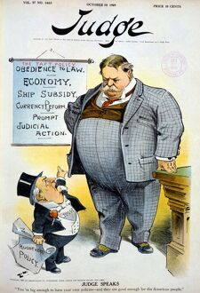 WILLIAM HOWARD TAFT (1857-1930). 27th President of the United States. 'Judge Speaks.' Judge, holding a paper reading 'Roosevelt policy,' scolds President Taft saying 'You're big enough to have your own policies - and they are good enough for the American people.' Cartoon from Judge, 1909.
