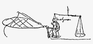 Wing-testing rig on scales, for an ornithopter wing. Drawing, c1485, by Leonardo da Vinci.