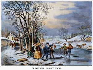 WINTER PASTIME, 1856. Lithograph by Nathaniel Currier, 1856.