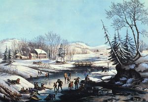 WINTER SCENE: MORNING 1854. Lithograph, 1854, by Nathaniel Currier.