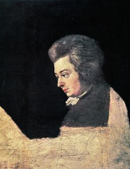 WOLFGANG AMADEUS MOZART (1756-1791). Austrian composer. Unfinished oil on canvas by Joseph Lange