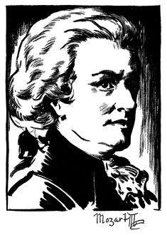 WOLFGANG AMADEUS MOZART (1756-1791). Austrian composer. Drawing by Samuel Nisenson, c1932.