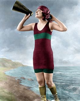 digitally colorized/woman c1920 woman holding megaphone photograph