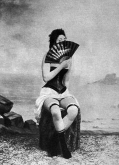 WOMAN AND FAN, c1887. From a series of nude studies, c1887.