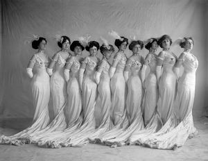 WOMEN, c1910. A group of women in fancy ballgowns. Photograph, c1910