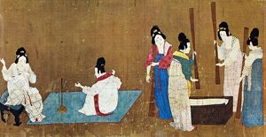 Women drawing out silk threads (left) and beating silk fibers in a trough with flails