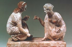 Women playing Knucklebones. Terracotta, South Italian Greek, about 300 BC. Height