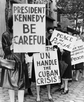 The Women Strike for Peace organization protesting the Cuban Missile Crisis outside