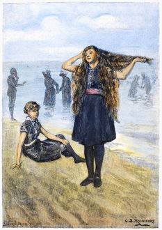 WOMEN'S FASHION, 1886. /nBathers on the beach at Ocean Grove, New Jersey. Wood engraving