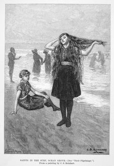 WOMEN'S FASHION, 1886. /nBathers at Ocean Grove, New Jersey. Wood engraving, 1886