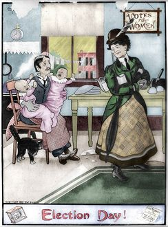 WOMEN'S RIGHTS, 1909. 'Election Day!' A suffragette leaving two infant