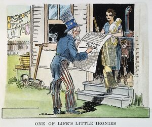 WOMEN'S RIGHTS, 1930. 'One of Life's Little Ironies.' American cartoon comment
