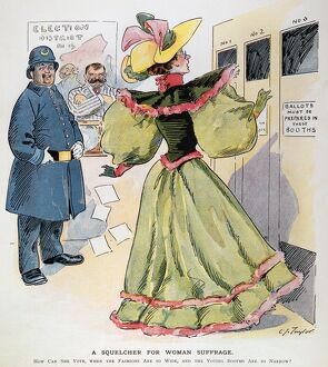 WOMEN'S RIGHTS CARTOON. 'A Squelcher for Woman Suffrage.' American cartoon, 1894, by C