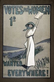 WOMEN'S RIGHTS. English poster, c1907, for Votes for Women newspaper.