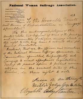 WOMEN'S RIGHTS PETITION. Petition, signed by Susan B. Anthony and Elizabeth Cady Stanton