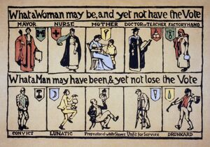 WOMEN'S RIGHTS. 'What a Woman may be and yet not have the Vote': English postcard
