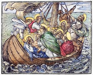 Woodcut illustration of Christ and the Apostles during the storm on the Sea of Galilee (Mark 4:38)