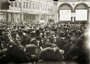 WORLD SERIES, 1911. A crowd gathered outside the New York Herald newspaper building
