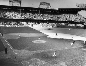 WORLD SERIES, 1941. A view of the action at Ebbets Field in Brooklyn, New York, during