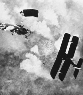 WORLD WAR I: AERIAL COMBAT. German and Allied planes clash during World War I.