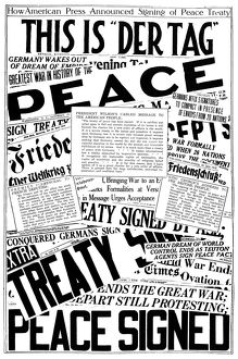 WORLD WAR I: ANNOUNCEMENT. How the American press announced the signing of the peace