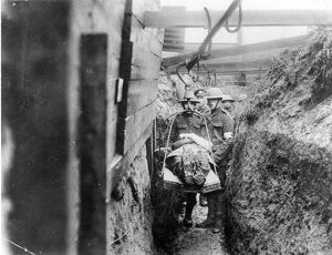 WORLD WAR I: FRANCE. An overhead trolley for bringing wounded through the trenches.