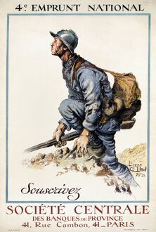 WORLD WAR I: FRENCH POSTER. French soldier climbing out of a trench. Lithograph poster