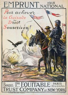 WORLD WAR I: FRENCH POSTER. 'To Help the Right Triumph, Subscribe!' Soldiers