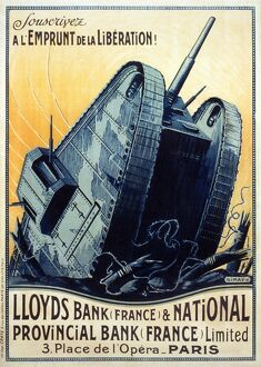 WORLD WAR I: FRENCH POSTER. 'Subscribe to the Liberation Loan!' A large tank