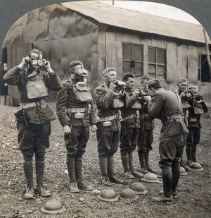 WORLD WAR I: GAS MASKS. American soldiers in France during World War I learning how
