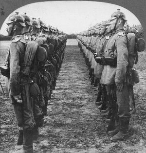 WORLD WAR I: GERMAN TROOP. Helmeted German soldiers lined up for review during World War I